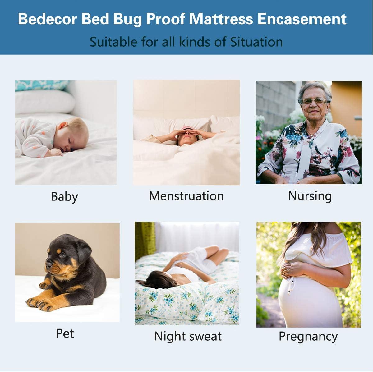 Bedecor Cotone Fodera coprimaterasso Impermeabile con Cerniera,Anti-allergia Antibatterico Anti-acaro 140x200+16cm
