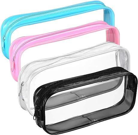 Imagen deBolsa de Lápices con Cremallera, BETOY 4 Piezas Transparente PVC Caso de la Pluma Bolsa de Maquillaje Bolsa de Lápiz Capacidad Grande Impermeable Portátiles Blanco Negro Rosado Azul