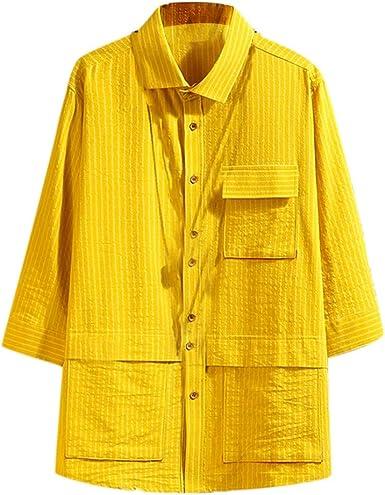 SoonerQuicker Camisa de Hombre Camisas japonesas de Siete Mangas Hombre Blusa a Rayas de Herramientas: Amazon.es: Ropa y accesorios