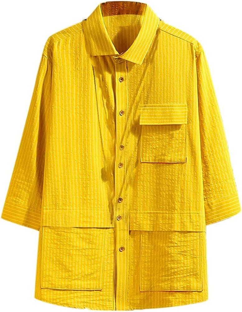 CAOQAO Camisa Hombre Moda, Camisas japonesas de Siete Mangas, Herramientas, Blusa a Rayas: Amazon.es: Ropa y accesorios