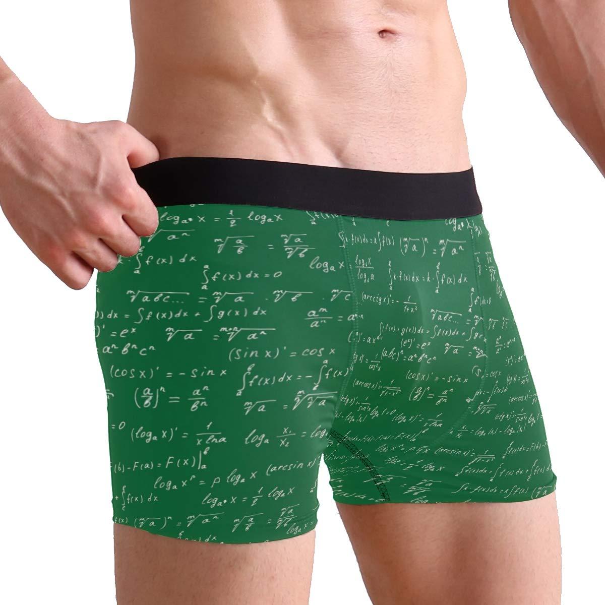 Mens Math Elements Green Underwear Boxer Briefs Ultra Soft Comfortable