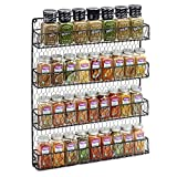 4 Tier Rustic Metal Wire Hanging Spice Rack Easy Wall Mount Black (Small Image)