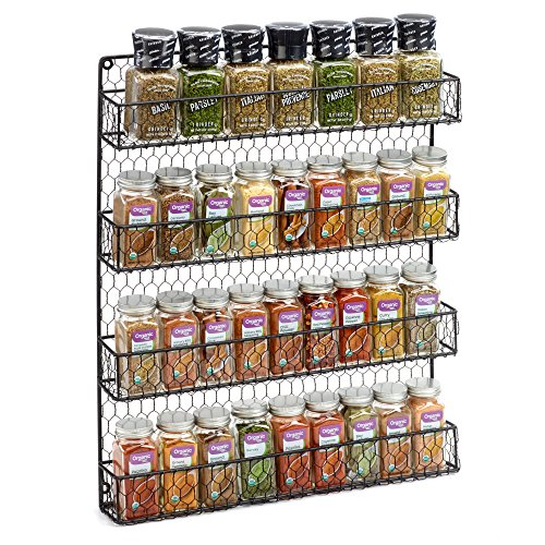 1790 Rustic Chicken Wire Spice Rack - Wall Mount Pantry Organizer - 4 Tiers Black (Jar Traditional Rack)