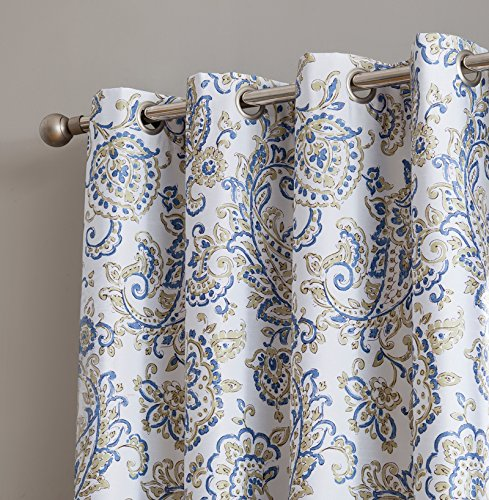 HLC.ME Amalfi Faux Silk 100% Blackout Room Darkening Thermal Lined Curtain Grommet Panels Bedroom - Energy Efficient, Complete Darkness, Noise Reducing - Set of 2 (Blue/Yellow, 52