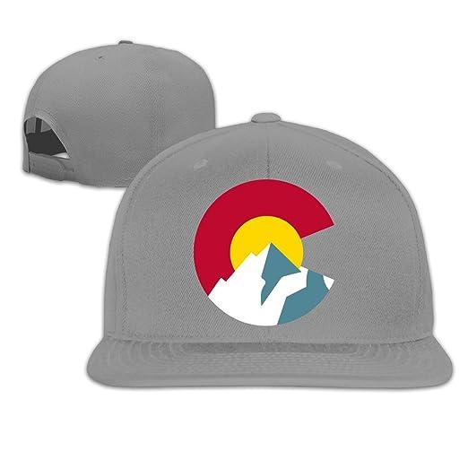 13befa9eedab56 Amazon.com: Colorado Flag Mountain Embroidery Flat Bill Hats Ash Adjustable Baseball  Cap: Clothing