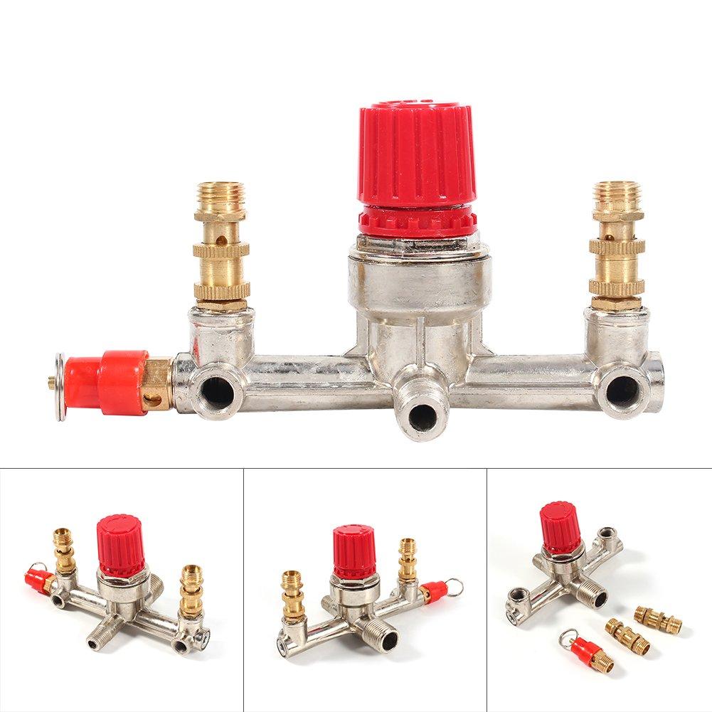 Válvula Reguladora de Presión de Aire de Tubo de Salida Doble Válvula de Compresor de Aire de Aleación de Zinc: Amazon.es: Bricolaje y herramientas