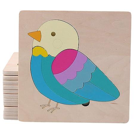 FidgetGear Cartoon Wooden Jigsaw Puzzles for Kids Toddlers Animal Puzzle Blocks Educational Toy for Boys Girls Little Bird