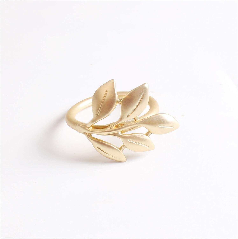 WSZMD Napkin Ring 6pcs/lot Napkin Rings Fall Leaves Matte Gold Silver Christening Bangle Metal Napkin Holder Baptismal Shower Party Decor Wedding Napkin Ring (Color : Matte Gold)