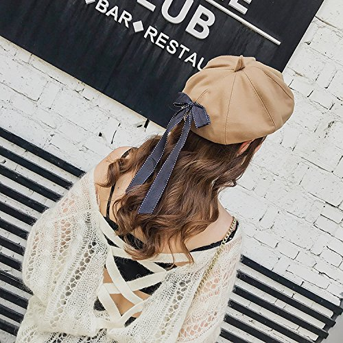 ACVIP Womens Winter Warm Beret Hat Painter Cap with Long Ribbon Bow Trim