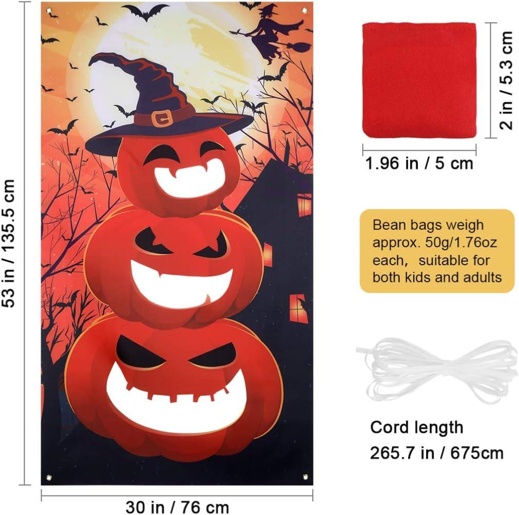 Halloween Bean Bag Toss Game Kit Pumpkin Banner with 3 Bean Bags, Halloween Party Games Indoor Outdoor Fun