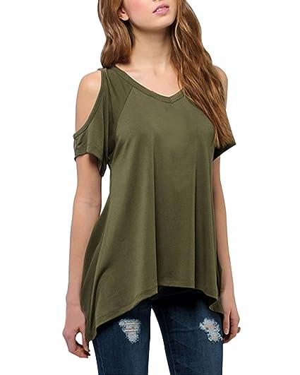 Minetom Mujer Sin Tirantes Clubwear Suelto Blusa Casual Tapas Color Sólido: Amazon.es: Ropa y accesorios