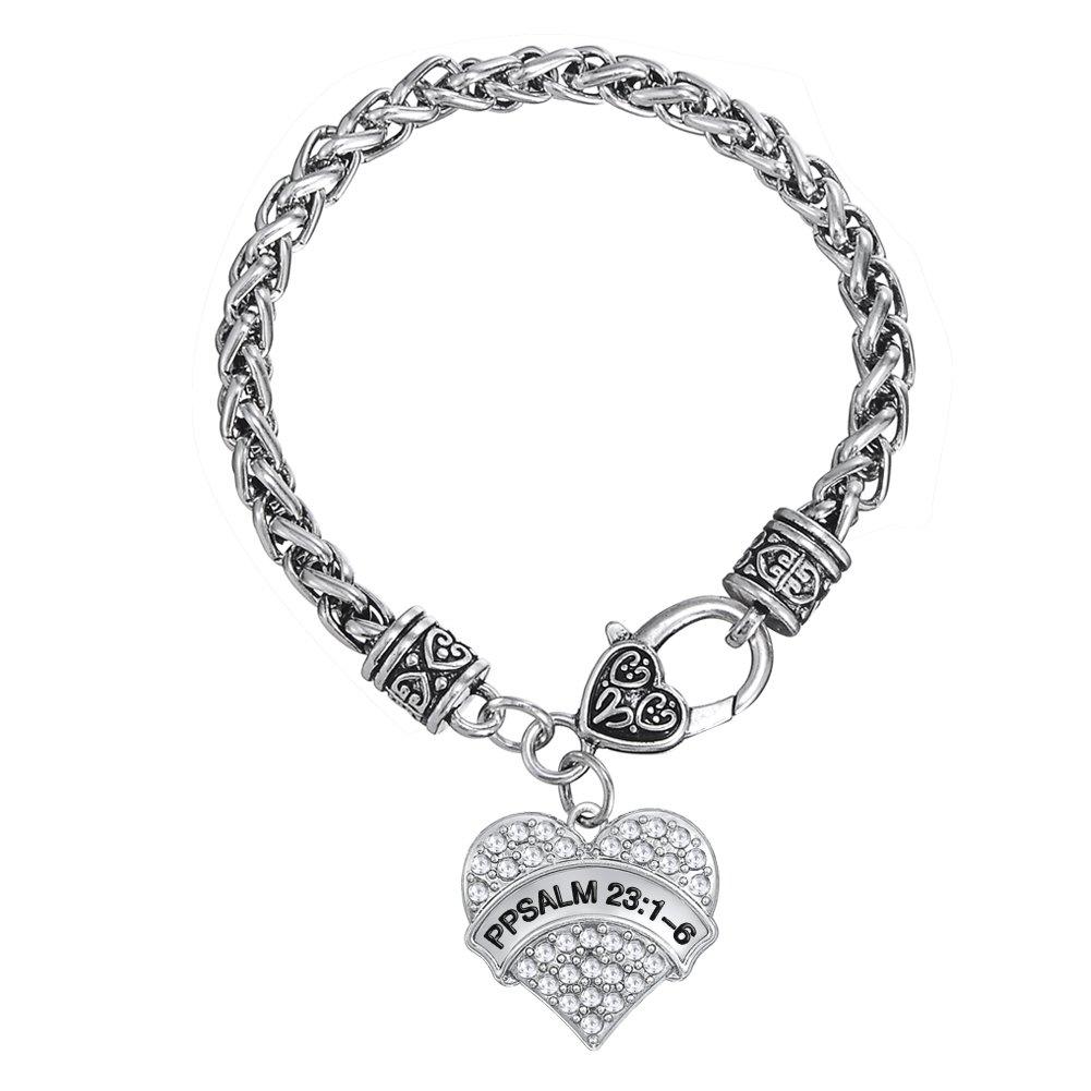 Fashion Heart-Shape Police Psalm 23:1-6 Words with Clear Crystal Wheat Chain Bracelet Jewelry YI WU KE JI