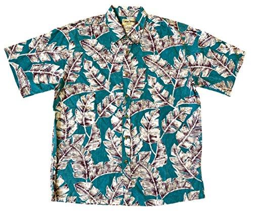 (Cooke Street Men's Honolulu Classic Hawaiian Shirt (Turquoise/Palm Leaf Print, Large))
