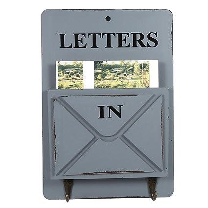 Caja de Madera de Correo Carta de Estante Montado en Pared Caja de Almacenamiento Ganchos Clave