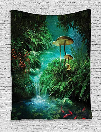 Ambesonne Fantasy Tapestry, View of Fantasy River with Pond and Fishes Mushroom in Jungle Trees Print, Wall Hanging for Bedroom Living Room Dorm Decor, 40″ X 60″, Green Teal