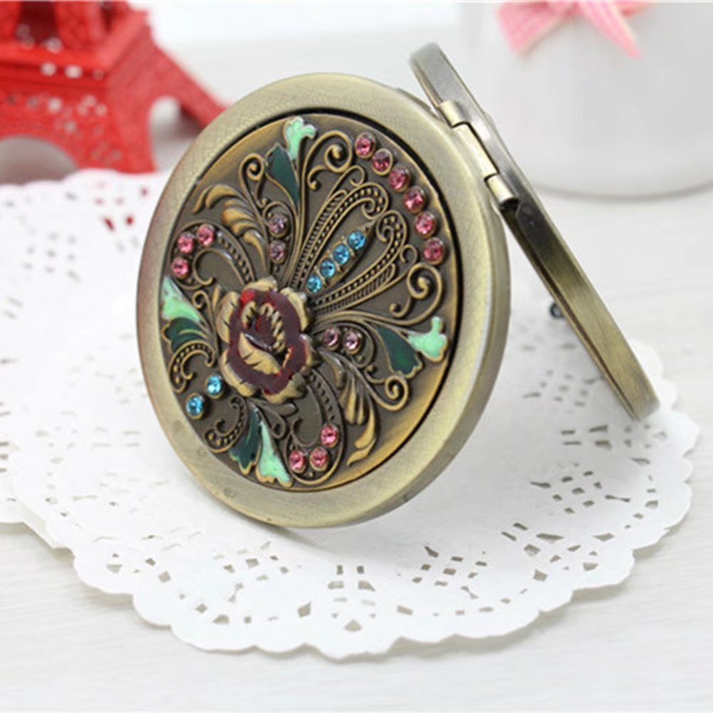 BLUENIVEYY Bronze Flower Bird Double Sides Portable Foldable Pocket Metal Makeup Compact Mirror Woman Cosmetic Mirror,E
