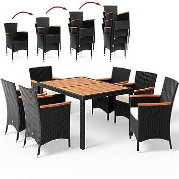 Salon De Jardin Polyrotin Extrieur Meubles Ensemble Table 6 Chaises Noir Bois