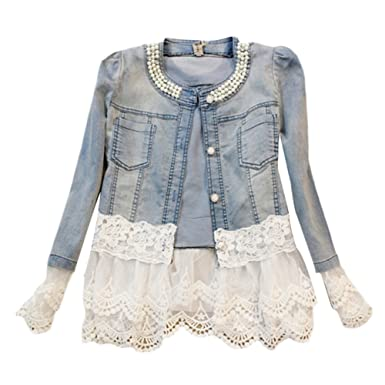 778d1cf72480bd Women Girl s Denim Jacket Short Beading Jeans Outerwear Lady Slim Long Sleeve  Lace Denim Coat