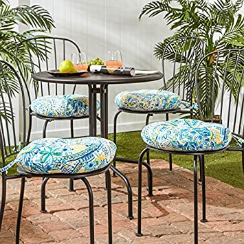 Greendale Home Fashions 15 in. Round Outdoor Bistro Chair Cushion in Painted Paisley set of 4 , Baltic