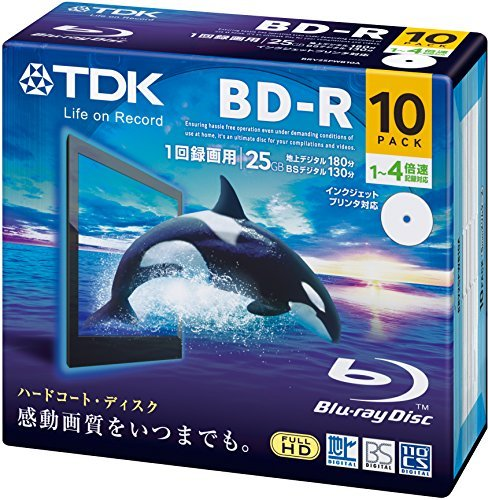 TDK Blu-ray BD-R Disk | 25GB 4x Speed 10 Pack in Jewel Cases Printable by TDK