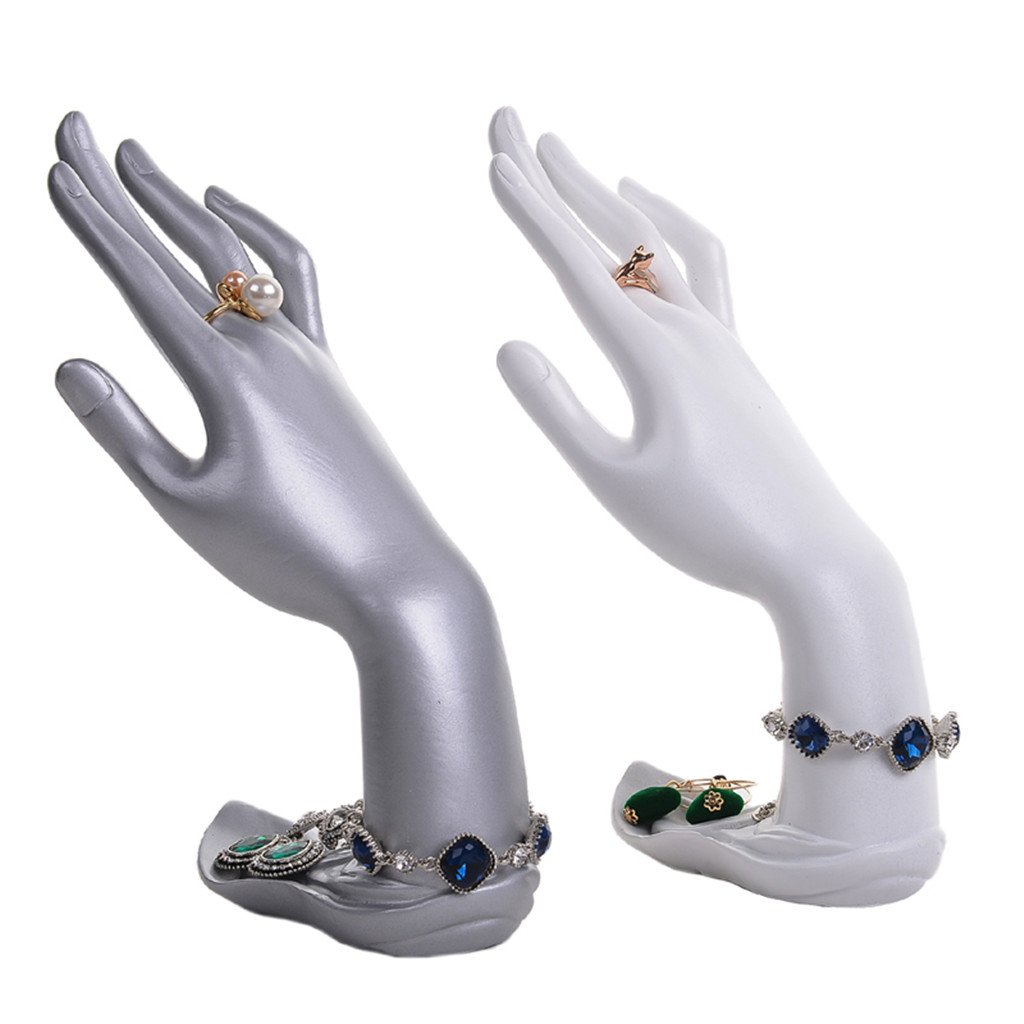Amazon.com: Jili Online Resin Mannequin Hand Finger Jewelry Bracelet Necklace Stand Holder Rack Display - Silver: Jewelry
