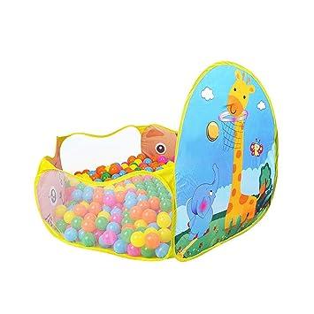 Global i Mall - Piscina de bolas plegable, para niños, con canasta de baloncesto, carpa de juego que se monta y desmonta fácilmente NARANJA