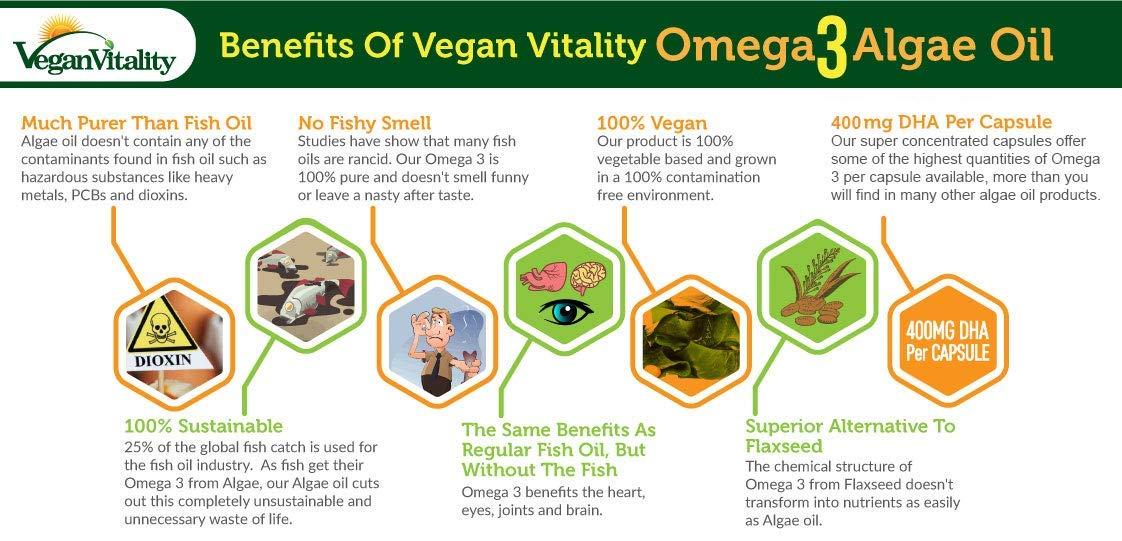 Olio di Alghe Omega 3 Vegan di Vegan Vitality: 400mg DHA per Capsula. 60 Capsule, Fornitura per 2 Mesi. Vitamine Vegetariane Al 100% Vegetali