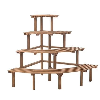 Amazon Com Dnsjb Solid Wood Corner Shelf Multilayer Indoor