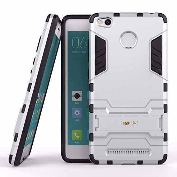 check out fba18 cce42 Heartly Graphic Kickstand Hard Dual Rugged Armor Hybrid Bumper Back Case  Cover for Xiaomi Redmi 3S Prime/3S - Champagne Silver