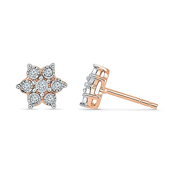 Bevilles 9ct Rose Gold 0.10ct Diamond Star Stud Earrings