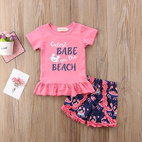 Aliven 2Pcs/Set Toddler Kids Baby Girl Summer Short Sleeve T-Shirt Tops + Floral Short Sets Outfits Clothes