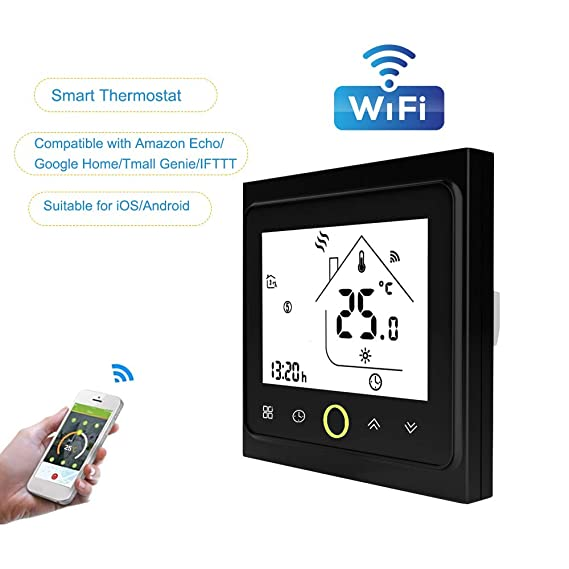 Walmeck- WiFi Termostato con Pantalla táctil Pantalla LCD Programador de Ahorro de energía Inteligente programable semanal para Caldera de Agua/Gas 3: ...