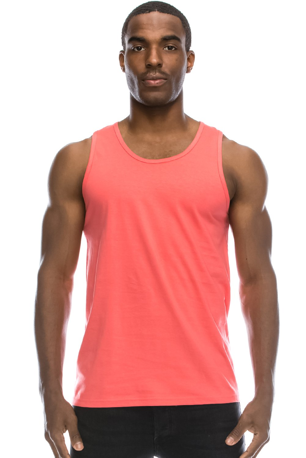 dbe47b8b74d5b2 JC DISTRO Mens Hipster Hip Hop Basic Workout Solid Coral Tank Top ...