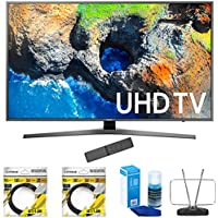 Samsung 48.5 4K Ultra HD Smart LED TV 2017 Model (UN49MU7000) with 2x 6ft High Speed HDMI Cable Black, Universal Screen Cleaner for LED TVs & Durable HDTV and FM Antenna
