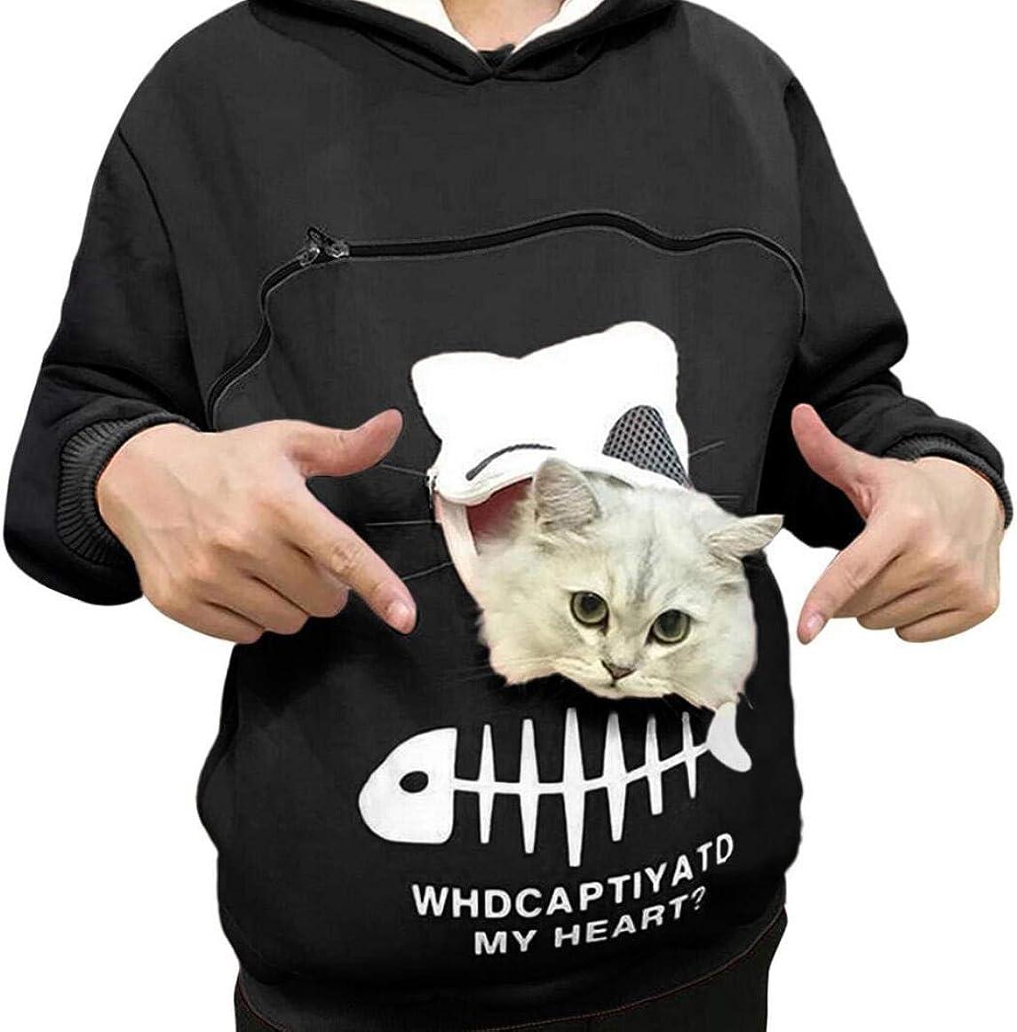 SMACO Reizende Katze Pouch Hoodie Känguru-Tasche Hoodie Langarm-Pullover Black