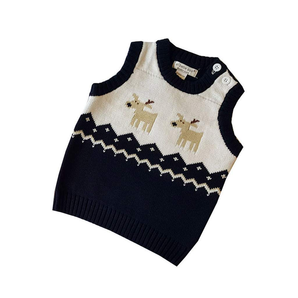 dumanfs Toddler Kids Girl Boy Winter Christmas Deer Sweater Knitted Warm Vest Sleeveless Tops Clothes Waistcoat 0T-2T