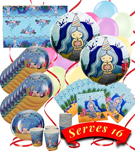 Mermaid Birthday Supplies (Mermaid Party Supplies - 16 Inch Tall Giant Mermaid Happy Birthday Banner - 2 Large 18