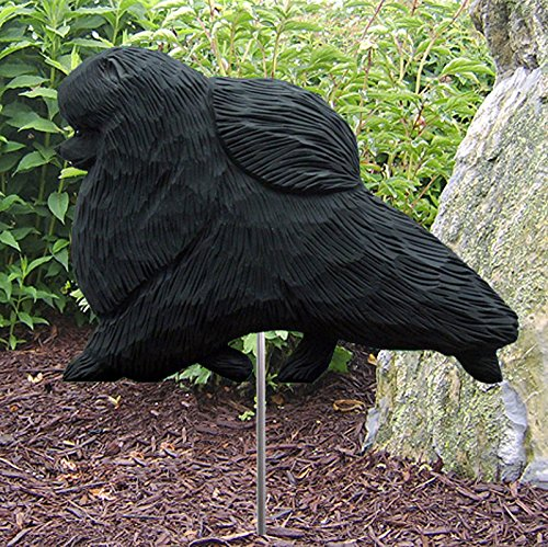Cheap Michael Park Woodcarver Pomeranian Outdoor Garden Dog Sign Hand Painted Figure Black