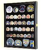 sfDisplay.com,LLC. 56 Challenge Coin Display Case Cabinet - Fully Adjustable Shelves - Larger Coins - 98% UV Protection (Black Finish)