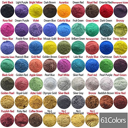 10g, 20g, 50g Cosmetic Grade Natural Mica Powder Pigment Soap Candle Colorant Dye 61 Color by Good Connection