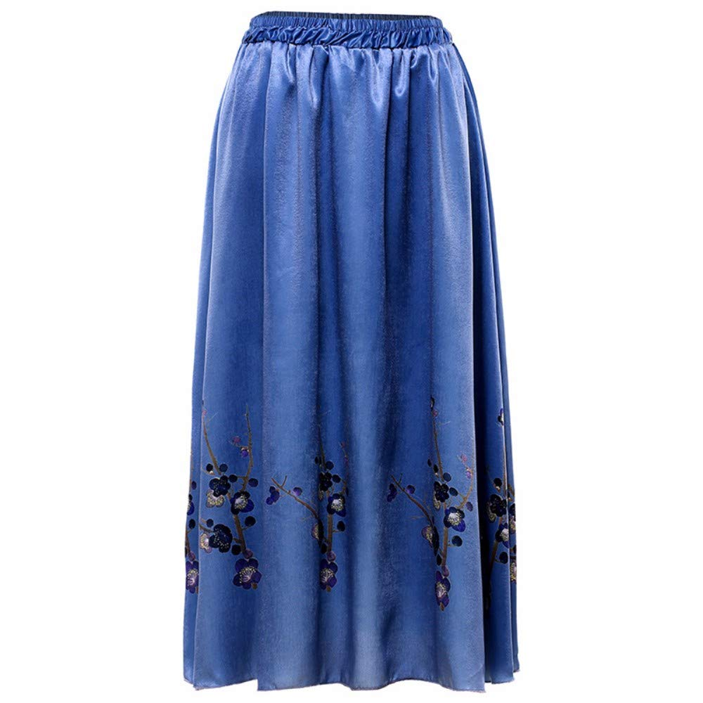 bluee ZPSPZ skirt Women's HalfLength Skirt, Big Dress Skirt, Elastic Waist Printed Slimming Skirt in Europe and America