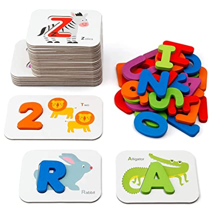 Coogam Numbers and Alphabets Flash Cards Set - ABC Wooden Letters and Numbers Animal Card Board Matching Puzzle Game Montessori Educational Toys Gift for Toddlers Age 3 Preschool and Up Years