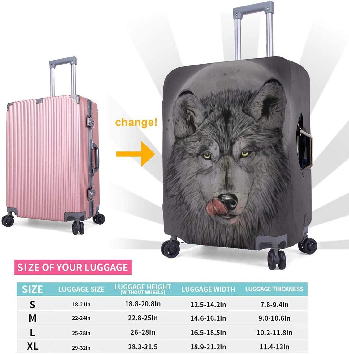 TYDhey Hungry Wolf Universal Fashion Luggage Suitcase Cover Protector