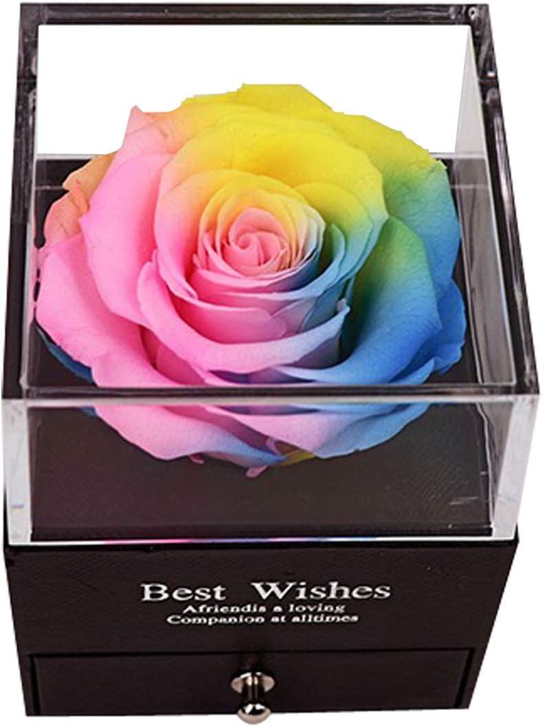JFlower Caja de Regalo de Joyería con Flor Preservada, Caja de Regalo de Rosa Eterna para Ella/Esposa/Novia/Mamá en Cumpleaños/Aniversario/Día de San Valentín (Multicolores)