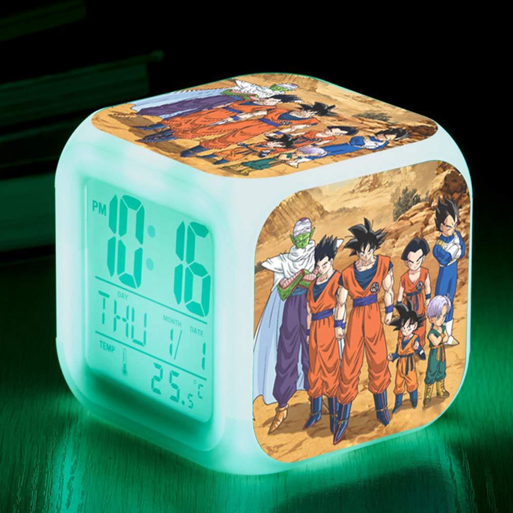 Date Bonamana Dragon Ball Anime Alarm Clock Color Change Glowing Digital Alarm Clock with Time Alarm C Temperature