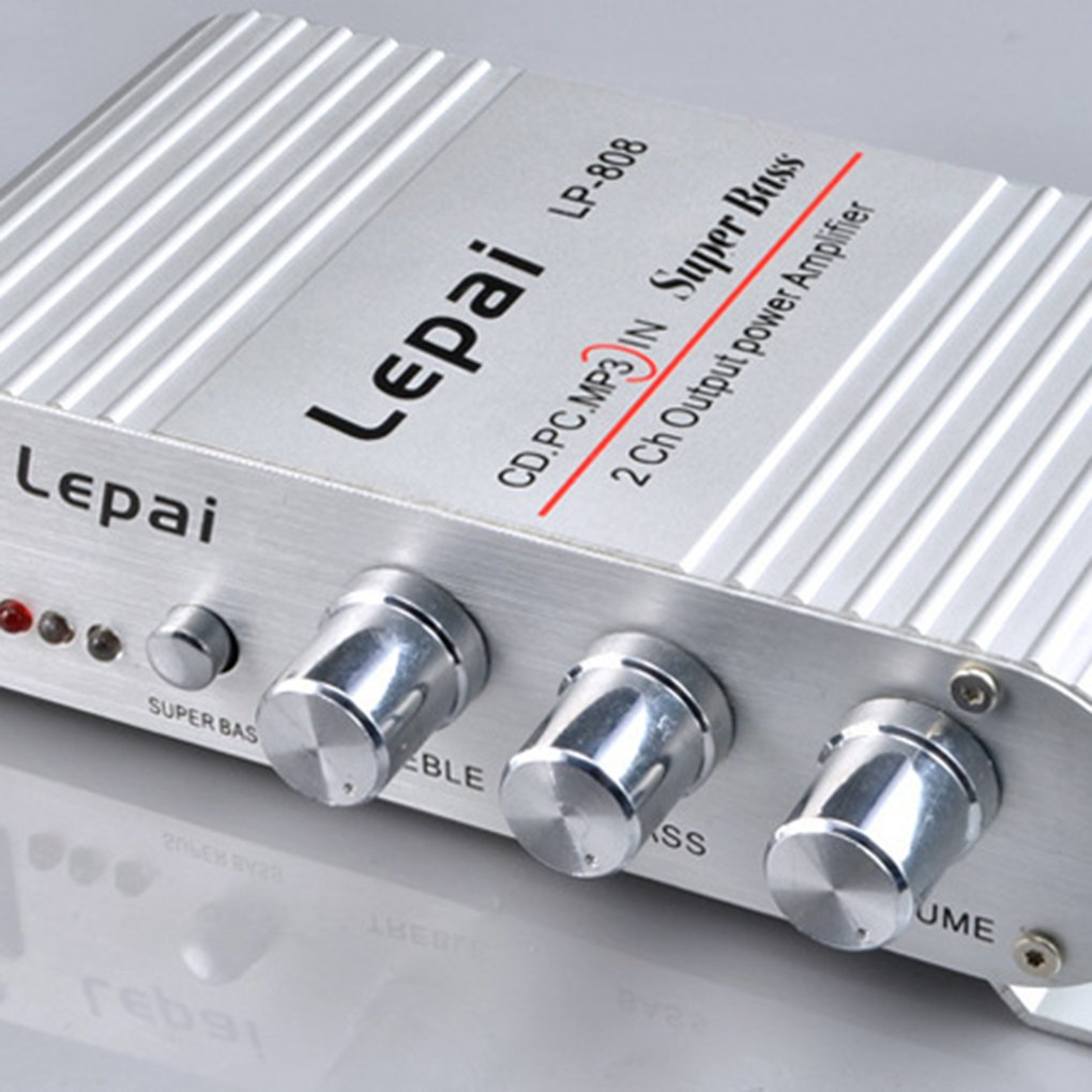 Bodbii LP-808 Auto Moto Amplificateur de Puissance Hi-FI Radio Audio MP3 USB SD Accueil Amp Aluminium Shell