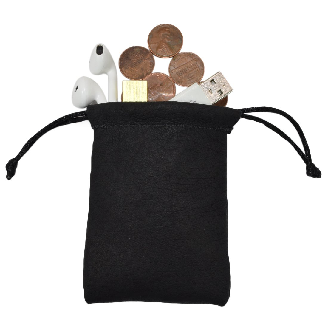 Sheepskin Coin/Heaphones/Valuables Travel Small Board Games Dice Pouch Handmade by Hide & Drink :: Black