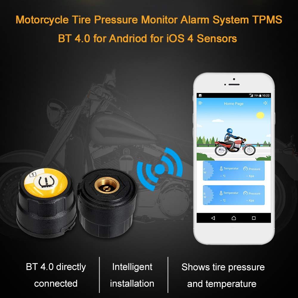 Fesjoy Motorrad Reifendruck Kontrollsystem Tpms Bt 4 0 Für Andriod Für Ios 4 Sensorenmotorcycle Tire Pressure Monitor Alarm System Beauty