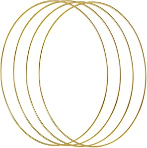 Sntieecr 4 Pack 12 Inch Large Metal Floral Hoop Wreath Macrame Gold Hoop Rings for Making Wedding Wreath Decor and DIY Dream Catcher Wall Hanging Crafts