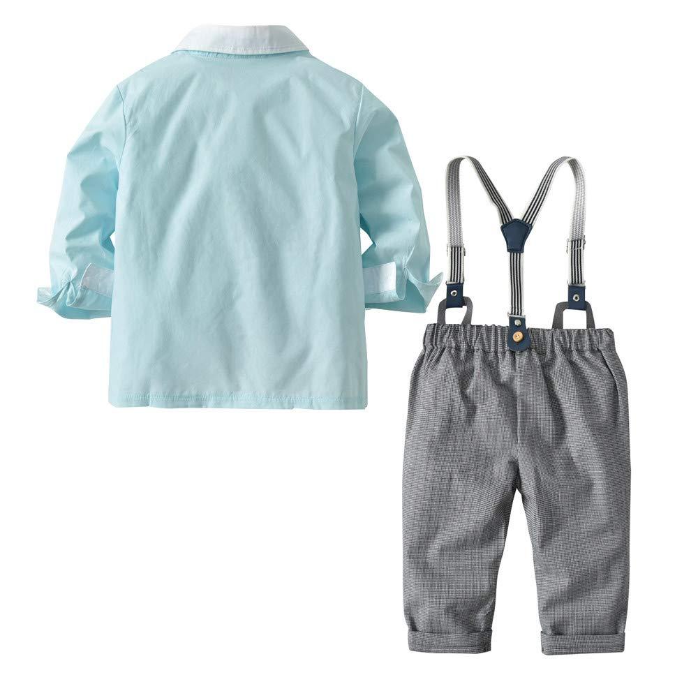 Zarupeng Kleinkind Baby Jungen Einfarbig Langarm Hemd T-Shirt Overall Hosen Tr/ägerhose Kleidung Gentleman Fliege 4-Teiliges Set